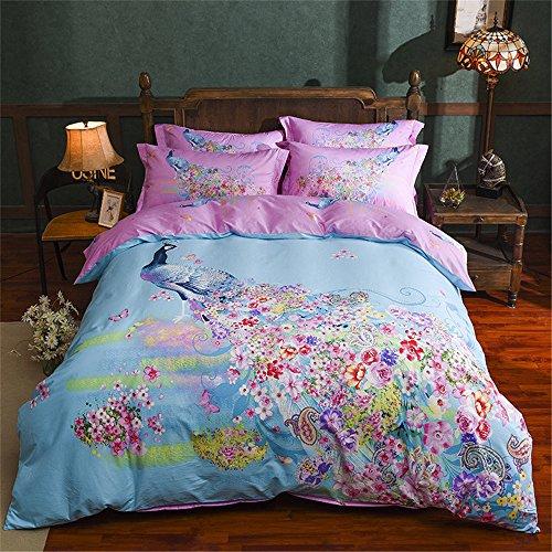 Dodou new style peacock Garden Theme Duvet Cover Sets Girls Bedding set Reactive printing gueen 4pcs