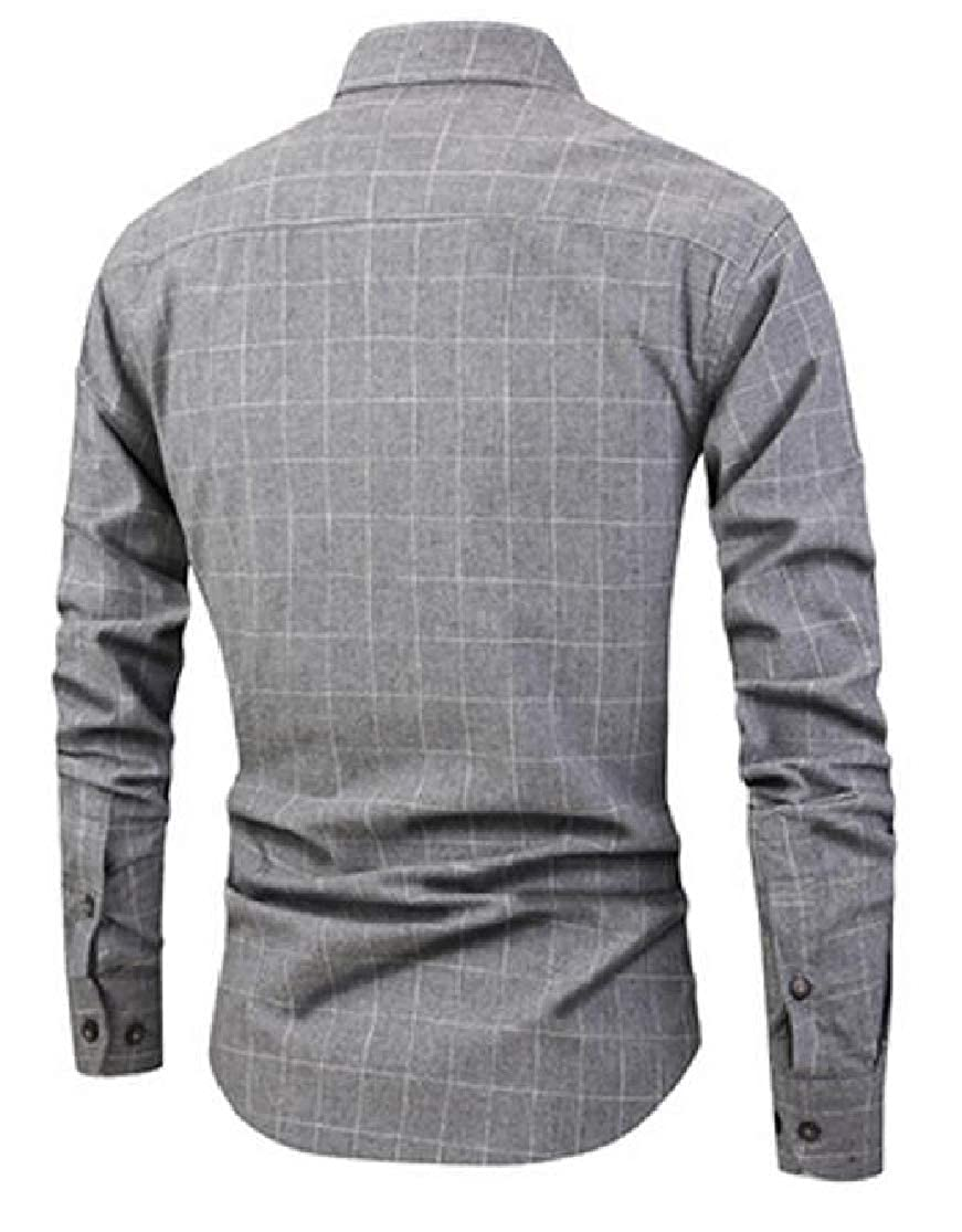 Cromoncent Mens Casual Slim Checkered Long Sleeve Button Up Flannel Shirts