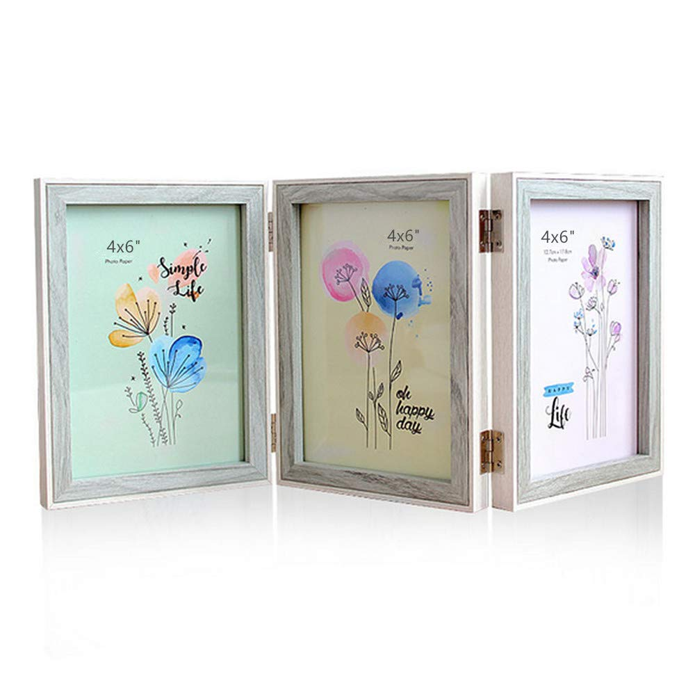 Leoyoubei Silver Hinged Folding Three Picture Frame Display 3 pcs 4x6 inch Vertical Photo or Pictures(12 Sliding pins) for Desk Triple Opening Wedding Home Decor Light Blue/White by Leoyoubei