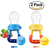 Baby Fresh Food/ Fruit Silicone Feeder Nibbler Teether Toy with Handgrip for Boys and Girls 2 PCS (6-12 months, blue,yellow)