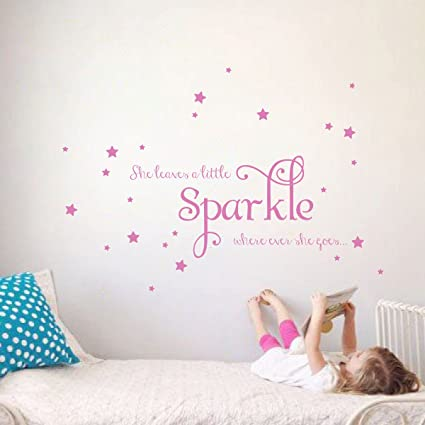 Disney Princess QUOTES wall stickers 15 big glitter decals girl room decor