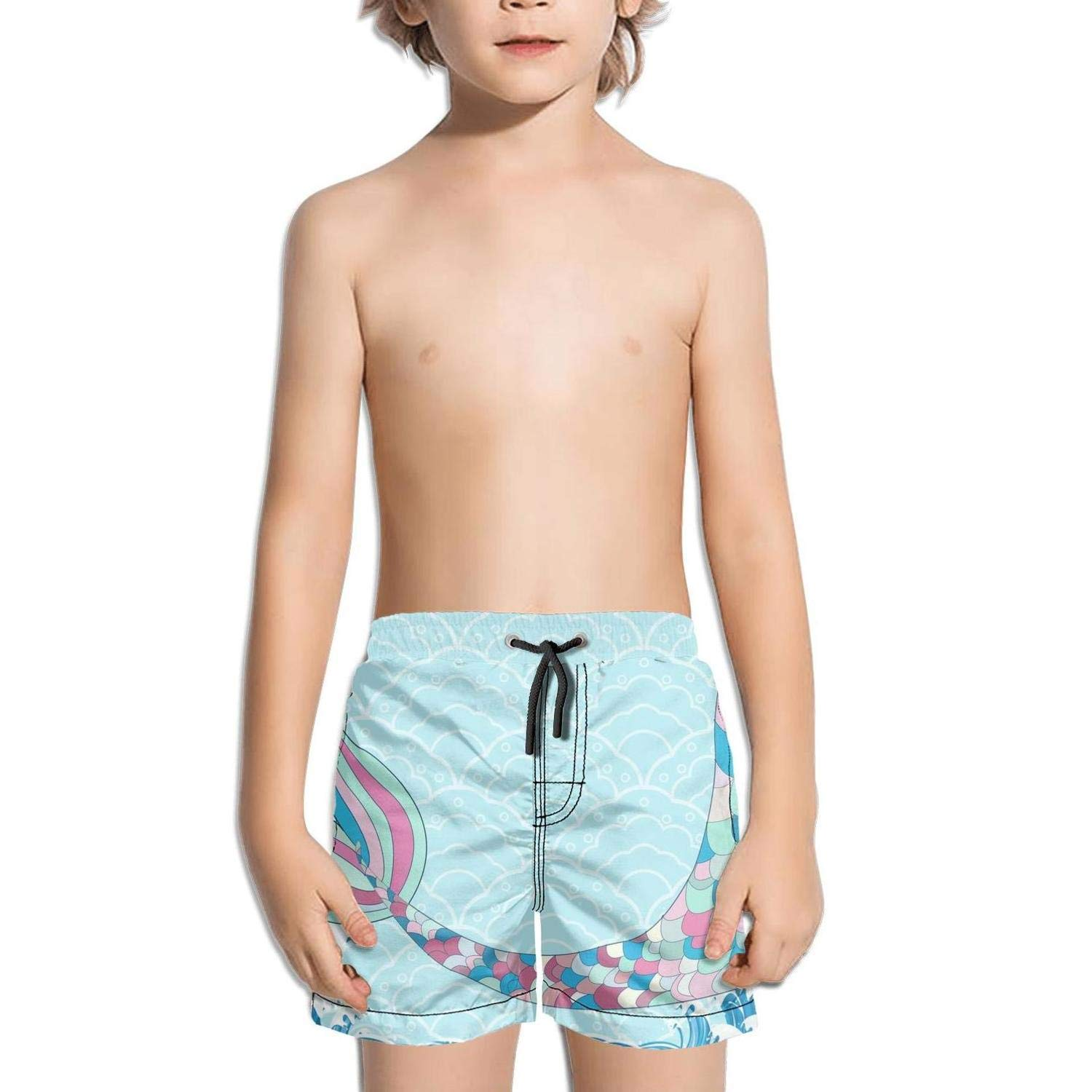 Etstk Mermaid Kids Quick Dry Beach Shorts for Men
