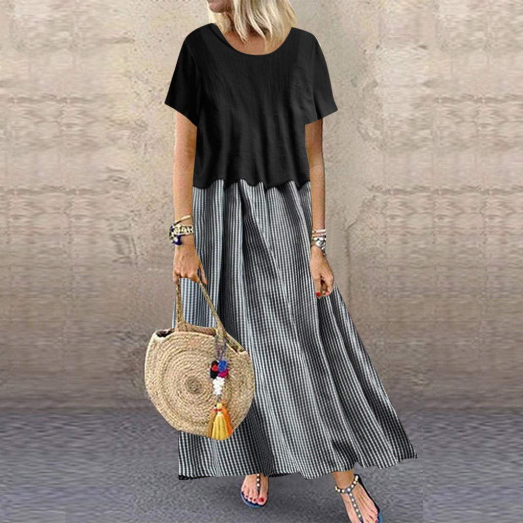 TRENDINAO 2019 Fashion Cotton Linen Dress Womens Two Pieces Casual Short Sleeve Crew Neck Plaid Pleated Maxi Dresses