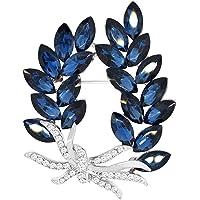 Mecool Broches Pin Flor Broche Creado Cristal Broche-Azul