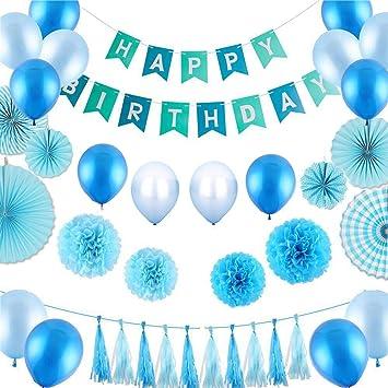 Pancartas de Banderines de Happy Birthda, Incluye ventiladores de papel, Globos, Feliz cumpleaños banner, Borlas de papel, Pompones de papel de seda