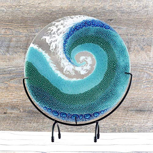 Fused Glass Crashing Ocean Wave Art Panel with Stand