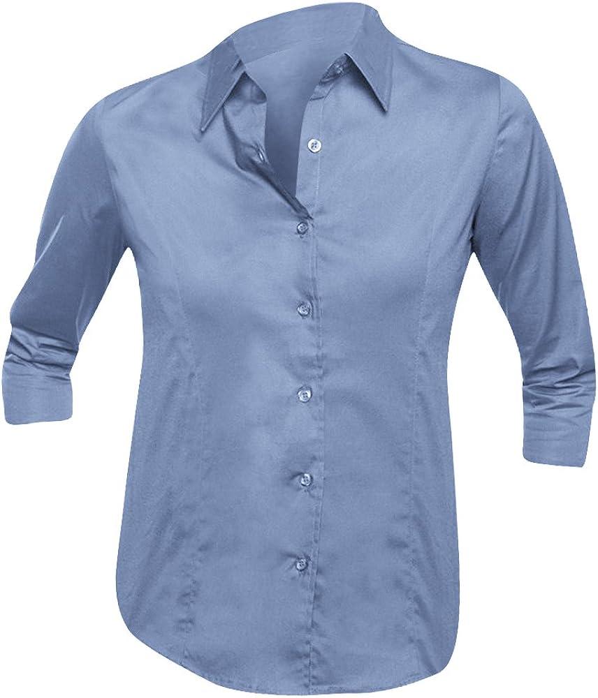 SOLS- Camisa de Trabajo Effect Entallada de Manga Tres Cuartos para Mujer (XS) (Azul Cielo): Amazon.es: Ropa y accesorios