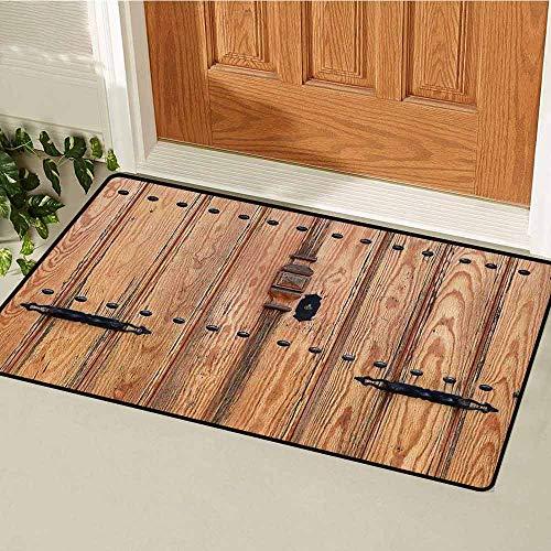 Rustic Universal Door mat Wooden Door with Iron Style Padlock Gate Exit Enclosed Space of Building Picture Door mat Floor Decoration W31.5 x L47.2 Inch Pale Brown