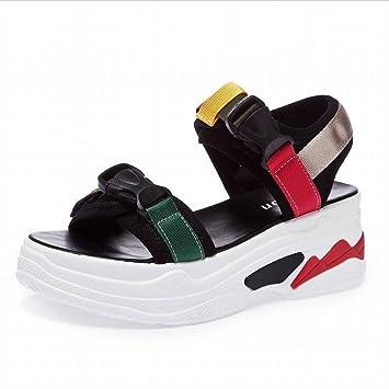 Sandalias Peep-Toe Velcro Muffins Casuales Zapatos de Suela Gruesa Sandalias de Playa para Mujeres