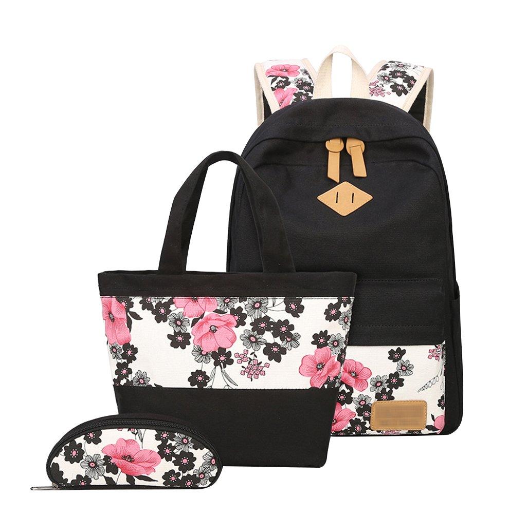 YoungSoul Sets de sacs scolaires fille ado - Cartable sac à dos en toile + Sac déjeuner + Trousses - Sac d'école collège 14