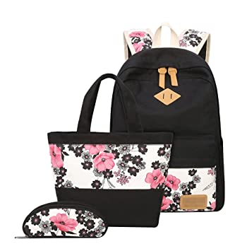 f257957abed YoungSoul School Bag Sets for Teenage Girls - Canvas Backpack + Lunch Bags  + Pencil Cases - Patterned Casual Daypack 3PCS 14  Amazon.co.uk  Luggage