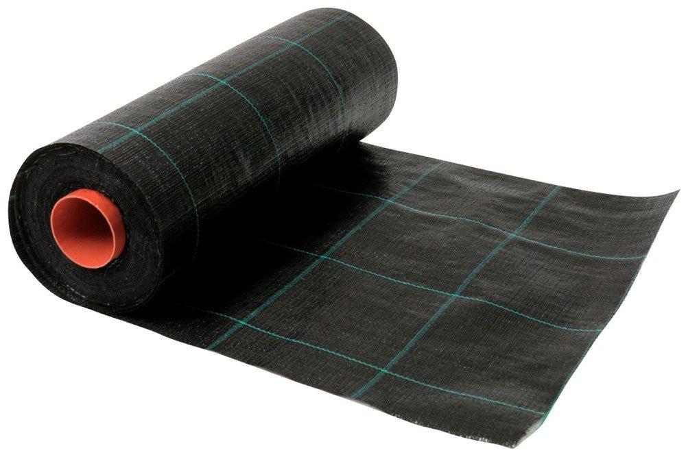 Unkrautvlies - Unkrautgewebe - Unkrautsperre 1,25 m breit und 100 m lang - Unkrautschutzvlies bzw. Unkrautfolie wasserdurchlässig und UV stabilisiert in Schwarz und mit Markierungsquadraten 150 x 150 mm in Grün versehen