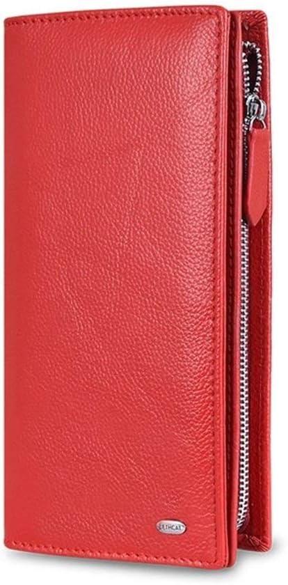 Yuhang Billetera De Cuero Cartera De 2020 De Las Mujeres De La Cremallera Señorita Qian Bao Bloqueo Bolsillo For El Móvil Función (Color : Red, Size : M)