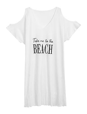 c8a4f709de03f Ouyilu Women Letters Print Swimwear Bikini Cover-ups Cold Shoulder Tassel  Beach Dress(S-XXL) at Amazon Women s Clothing store