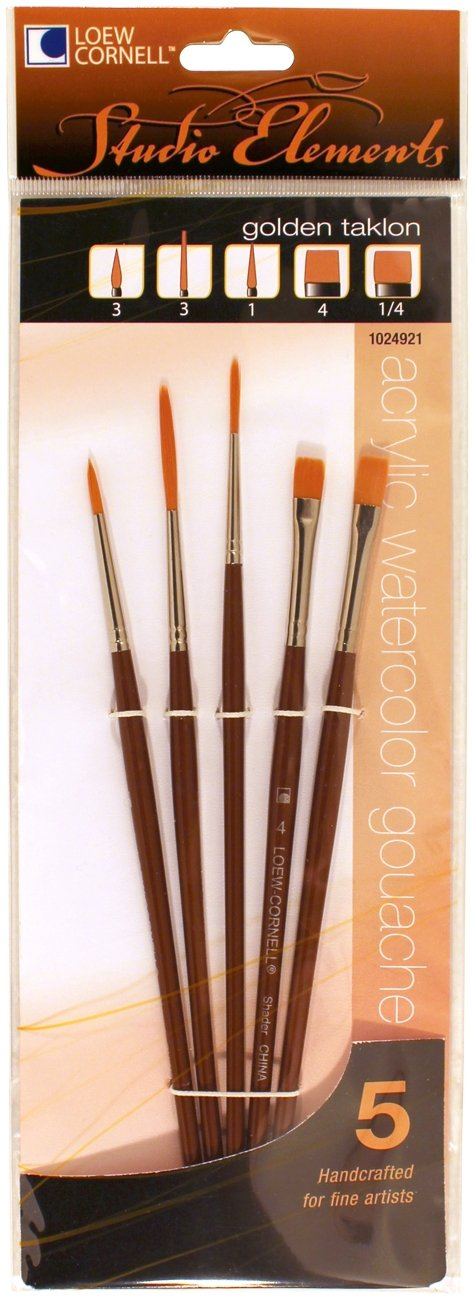 Loew-Cornell 1024921 Studio Elements Golden Taklon Short Handle Round/Liner/Shader Brush Set Loew Cornell