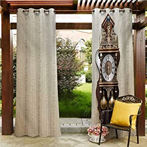 """Clock Pergola Outdoor Curtain Panel gazebo garden furniture house An Antique Style Wood Carving Clock with Roman Numerals Hanging on the Wall Design Brown and Tan 108""""W by 84""""L(K274cm x G213cm)"""