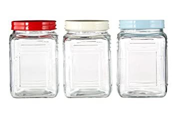 Superior Set Of 3 Square Glass Storage Jar 750ml With Assorted Colour Metal Lids Kitchen  Food Storage