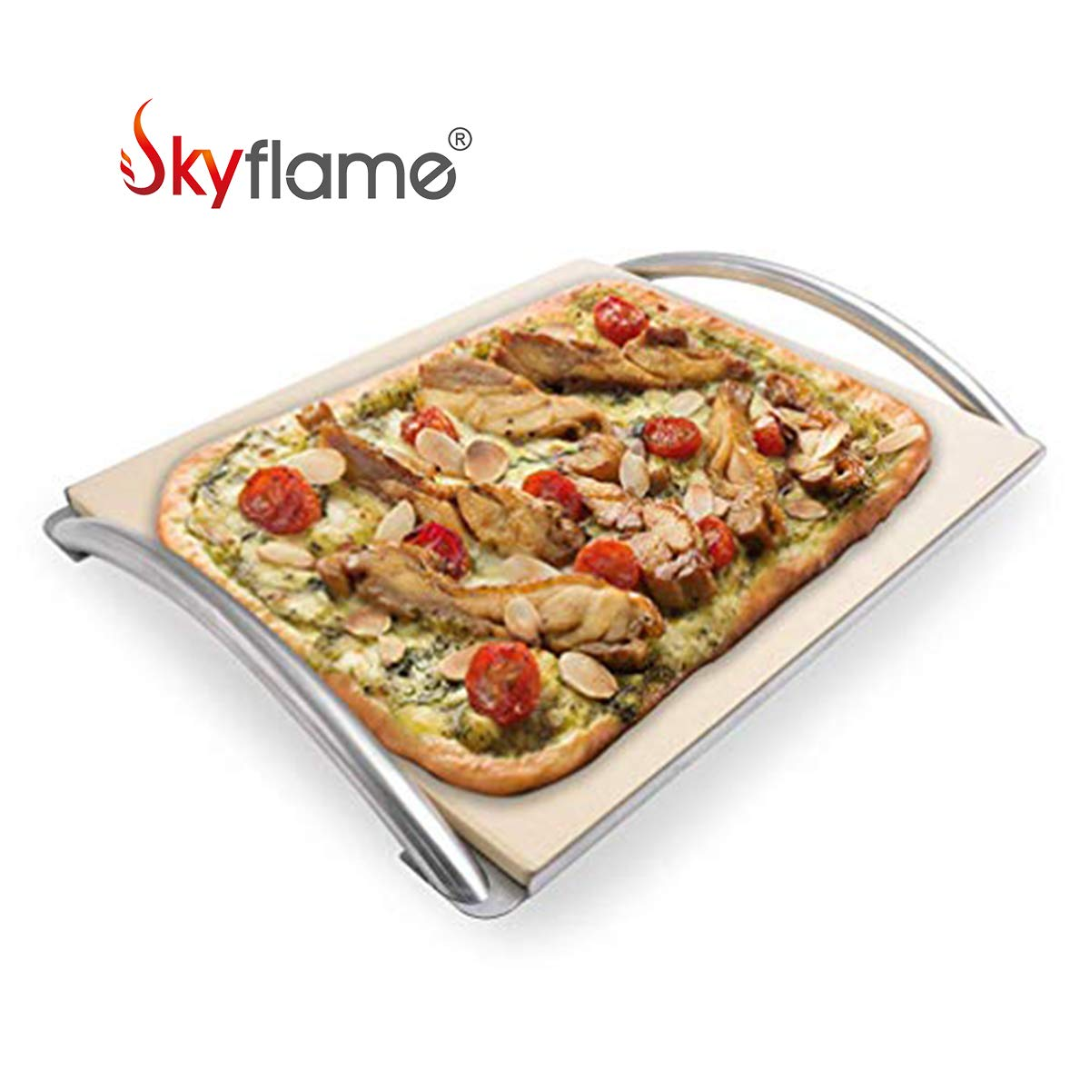 Skyflame 14'' x 16'' Rectangle Ceramic Baking Pizza Stone with Metal Handle Rack Fits Most Charcoal Grills, Gas Grills, Pizza Oven, Pellet Grills, BGE, Kamado Grills, Smoker by Skyflame