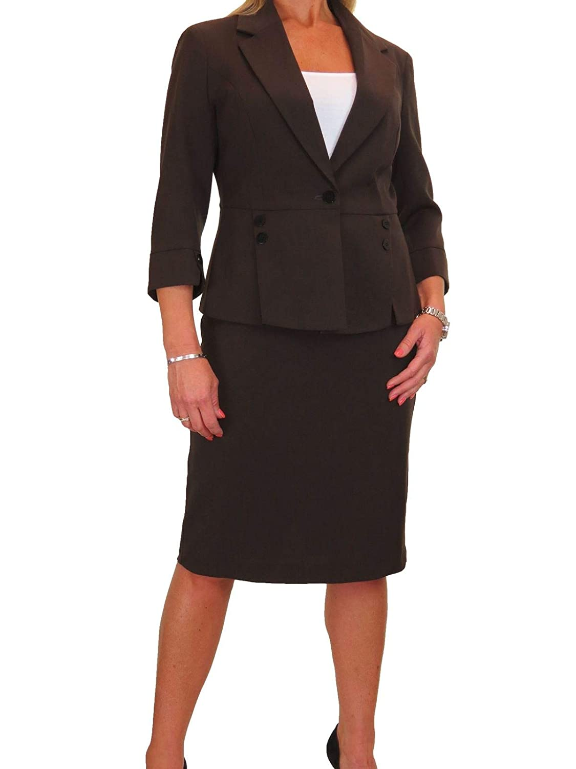 Brown ICE Fully Lined Washable Designer Look Business Office Skirt Suit 418