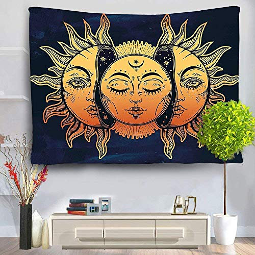 HL Wall Tapestry, Moon and Sun Face Pattern Fabric Wall Tapestry Hanging for Bedroom Living Room Dorm Handicrafts Beach Cover Up Curtain Polyester Wall Decor(60 x 80 Inch, Moon and Sun) by Hongxiu Lighting Direct (Image #4)
