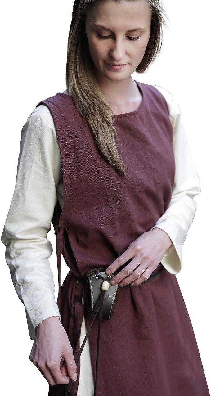 Medieval sobrevestido Mujer sin Mangas con Cordones Laterales de algodón marrón