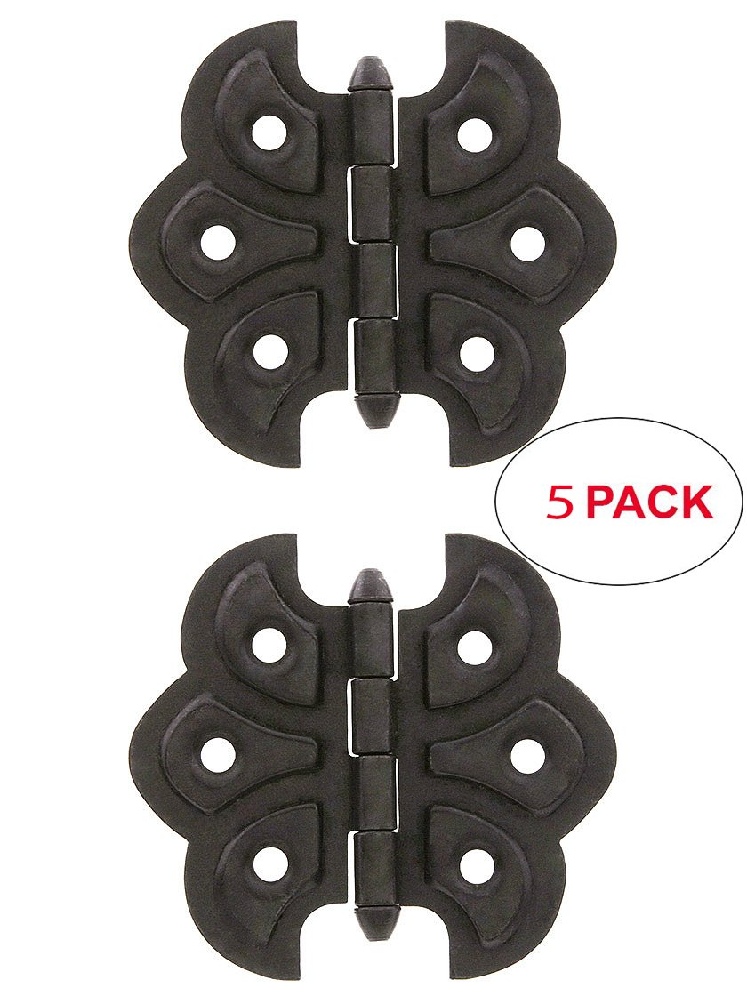 R-08BM-1560-OB-5 Pair of Victorian Butterfly Cabinet Hinges - 2 1/4'' x 2 3/8'' in Oil-Rubbed Bronze (5 Pack)
