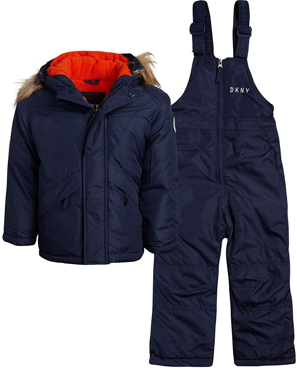 DKNY Boys 2-Piece Puffer Ski Jacket and Insulated Snowbib Snowsuit Set Infant//Toddler