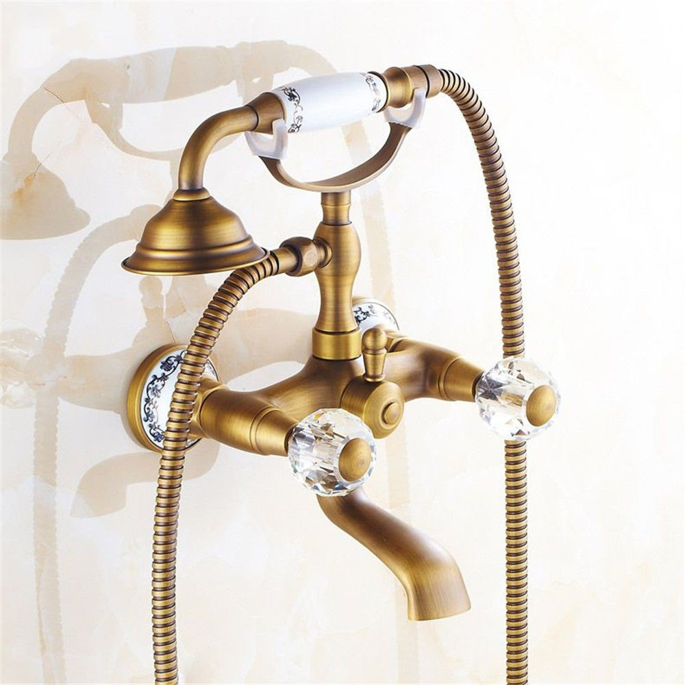 C NewBorn Faucet Kitchen Or Bathroom Sink Mixer Tap The Copper gold pink gold Black Antique Bath Water Tap Shower Set With The Water Into The Wall Mounted Bath Water Tap Set F