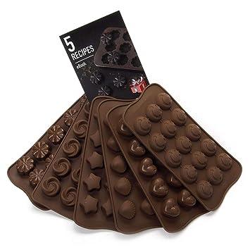 Moldes de silicona para decoración de tartas – Juego de 6 moldes de chocolate – Mejor