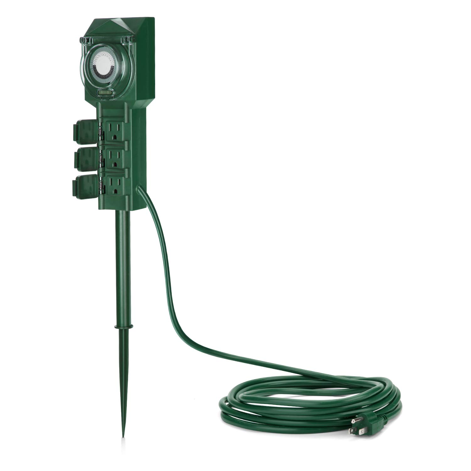 BESTTEN Outdoor Power Strip with 12-Foot Ultra Long Extension Cord, Weatherproof Yard Stake with 24-Hour Timer, ON/Off Switch, Waterproof Cover, ETL Certified, Green by BESTTEN