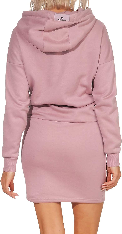 Sublevel Damen Kleid Sweatkleid Hoodie Kapuze Kapuzenkleid Pullover LSL-353