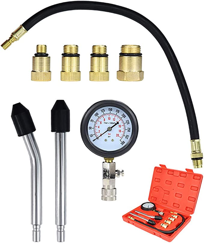 Cozywind Comprobador la Compresión Detector el Cilindro para Motores, Herramientas Profesionales de Multifunción para Motores de Gasolina, para Coche, Motocicleta, etc. Kit de 8 Piezas: Amazon.es: Coche y moto