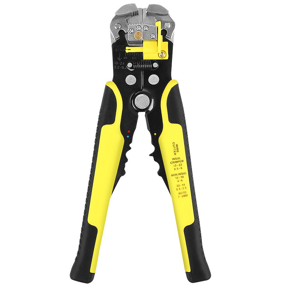 Wire Stripper, WYCTIN Self Adjusting Automatic Cable Wire Cutter Crimper Cutting Pliers Tool for Industry 10-24 AWG