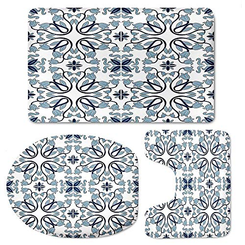 YOLIYANA Traditional House Decor Bathroom Rugs Set 3 Piece, Soft Flannel Bath Rugs Mats Non-Slip Bathroom Cushion Pad Including Bath Pad, Pedestal Mat and Toilet Seat Lid -