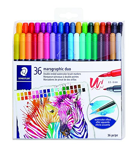 STAEDTLER double ended watercolor brush markers, marsgraphic duo, for illustrations, detail work, manga and expressive lettering, 36 colors 3000TB36LU
