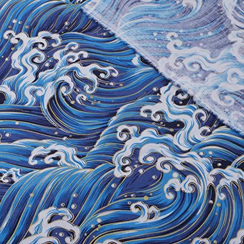 D DOLITY 波柄 ブロンジングクロス 布 生地 コットン ビンテージ 裁縫 縫製アクセサリー 全2サイズ - 1メートルの商品画像