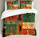 Primitive Duvet Cover Set by Ambesonne, Funky Tribal Pattern Depicting African Style Dance Moves Instruments Spiritual, 3 Piece Bedding Set with Pillow Shams, King Size, Multicolor