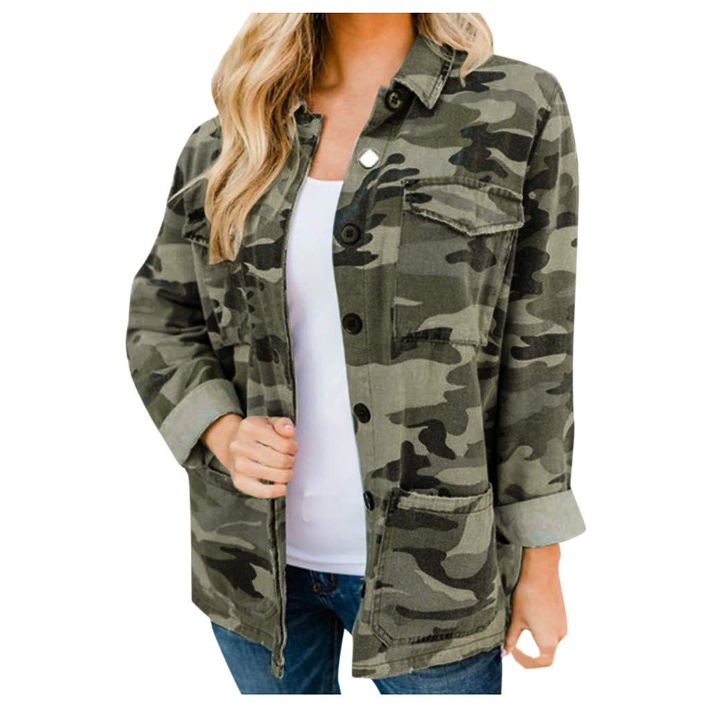 ZOMUSAR Women's Coat, Women Fashion Long-sleevedCamouflage Print Casual Stand Collar Coat Jacket by ZOMUSAR