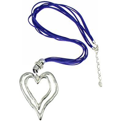 8d856e0078ca Lagenlook Double Large Silver Chunky Heart Pendant on a Blue Suede Leather  Necklace  Amazon.co.uk  Jewellery