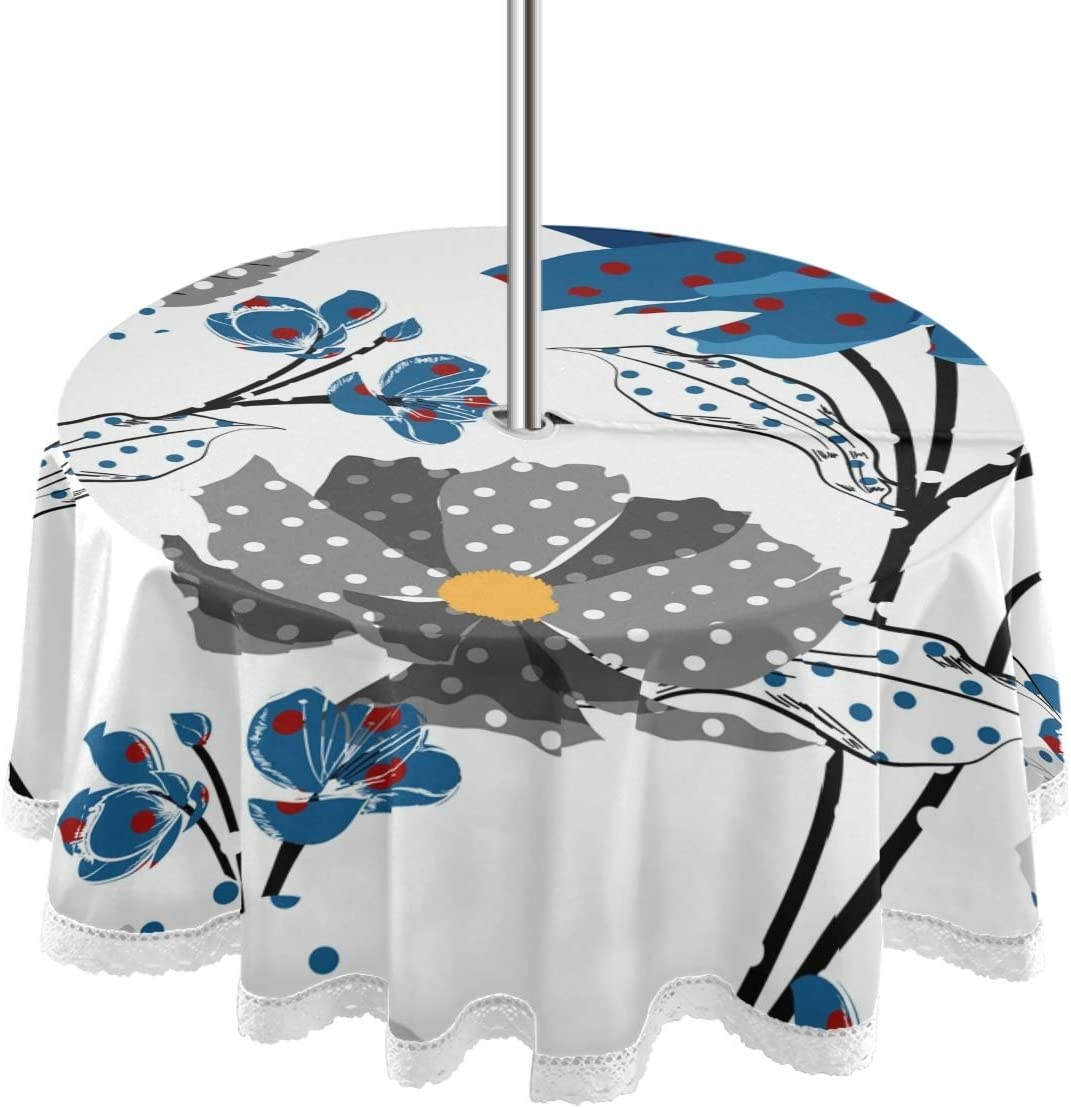 MCHIVER 60 Inch Round Tablecloth with Umbrella Hole & Zipper, Outdoor Indoor Zippered Tropical Colorful Leaves Flowers Patio Table Cloths for BBQ Picnic