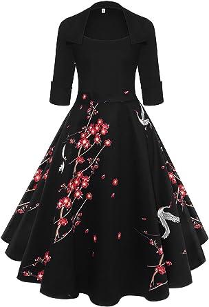 Axoe Femme Robes Vintage Annees 50 Avec Manche 3 4 Amazon Fr Vetements Et Accessoires
