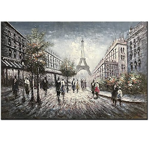 Painting Eiffel Tower Oil Paris (Diathou 24x36 inch Classical Dreamlike Paris Street View Eiffel Tower Romantic City Fashion Decorative gift Landscape Paintings for Bedroom Office Artwork 100% hand-painted abstract oil painting art)