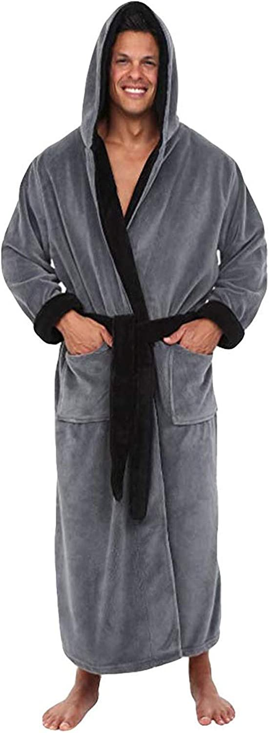 MANLAX Mens Hooded Flannel Soft Bathrobe Full Length Home Clothes Robe Loungewear