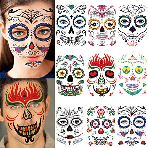 Halloween Face Tattoo Designs (9 Sheets Different Styles Halloween Horror Temporary Face Tattoos Stickers Waterproof Cos Play Party Prop Decorations Masquerade (Mask)