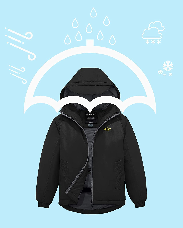 Wantdo Girls Hooded Fleece Ski Jacket Windproof Spring Coat with Hood