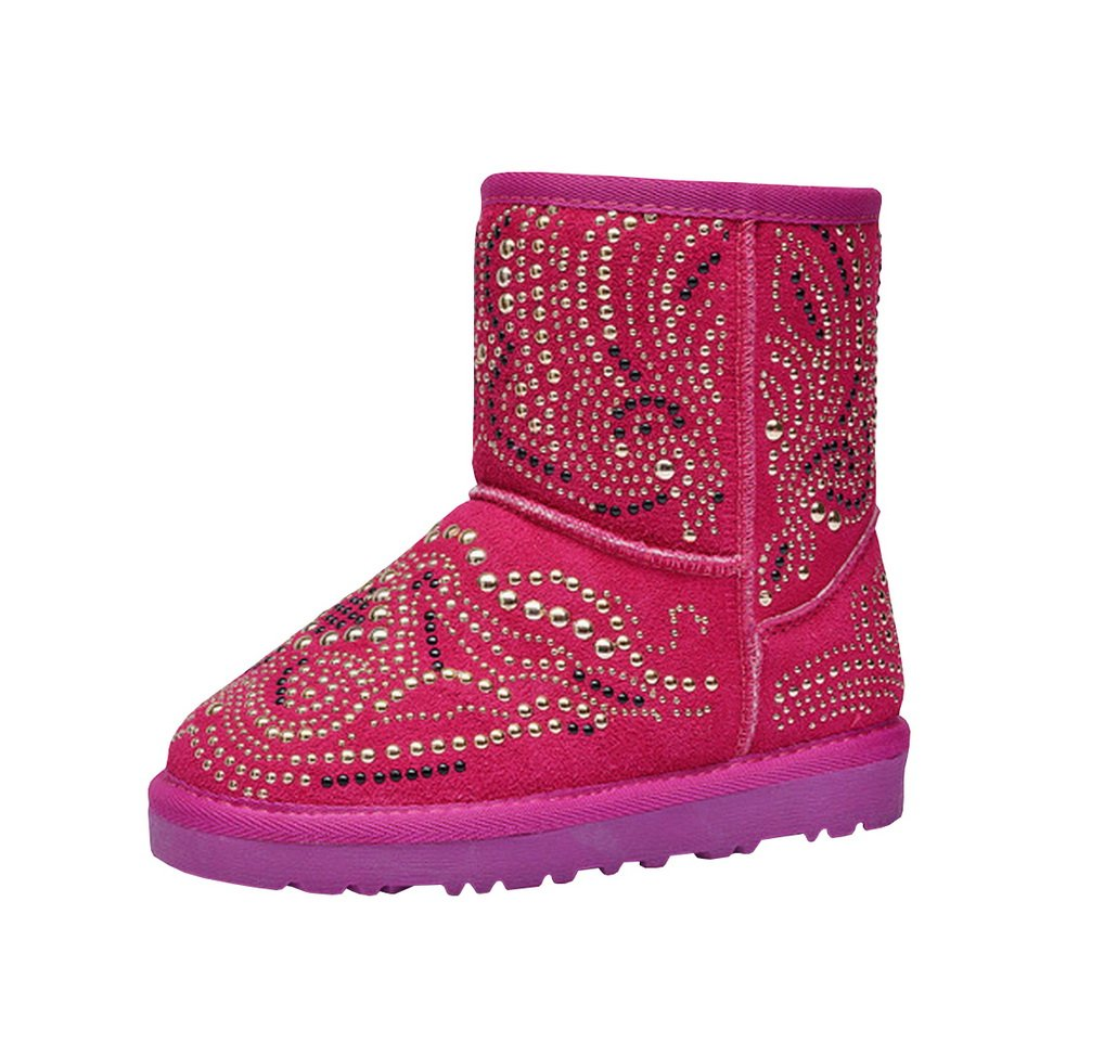 Bohemian's Style Kids Winter Flat Shoes Bailey Button Cosy Warm Pull-On Snow Boots Evedaily