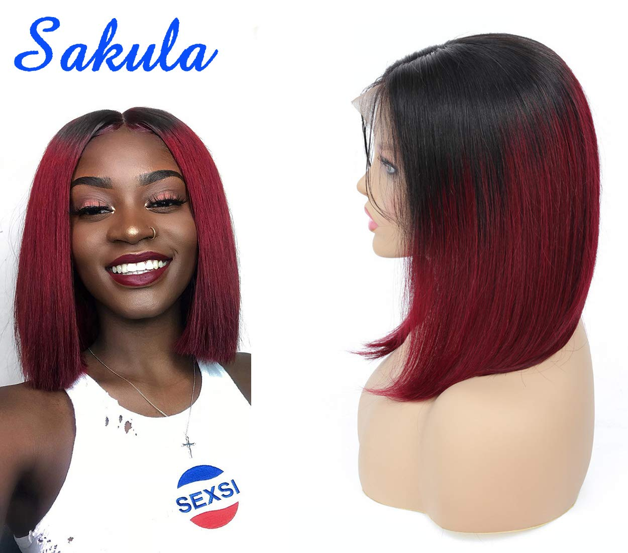B074BSHZFG Sakula Brazilian Virgin Remy Lace Frontal Bobo Wig with Human Hair 10 Inches 61l5hLwpUuL._SL1250_