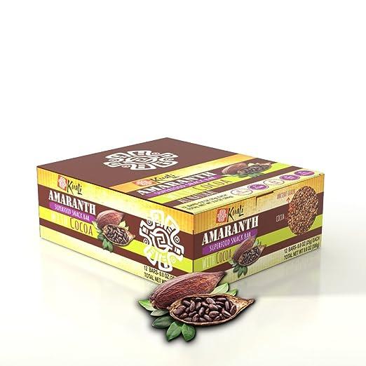 Amazon.com: Kuali Amaranth Bars with Cocoa (12 Pack) Ancient Grains Bars - Amaranth Superfood Snack Bars - Barras de Amaranto - Alegria -Vegan - Gluten Free ...