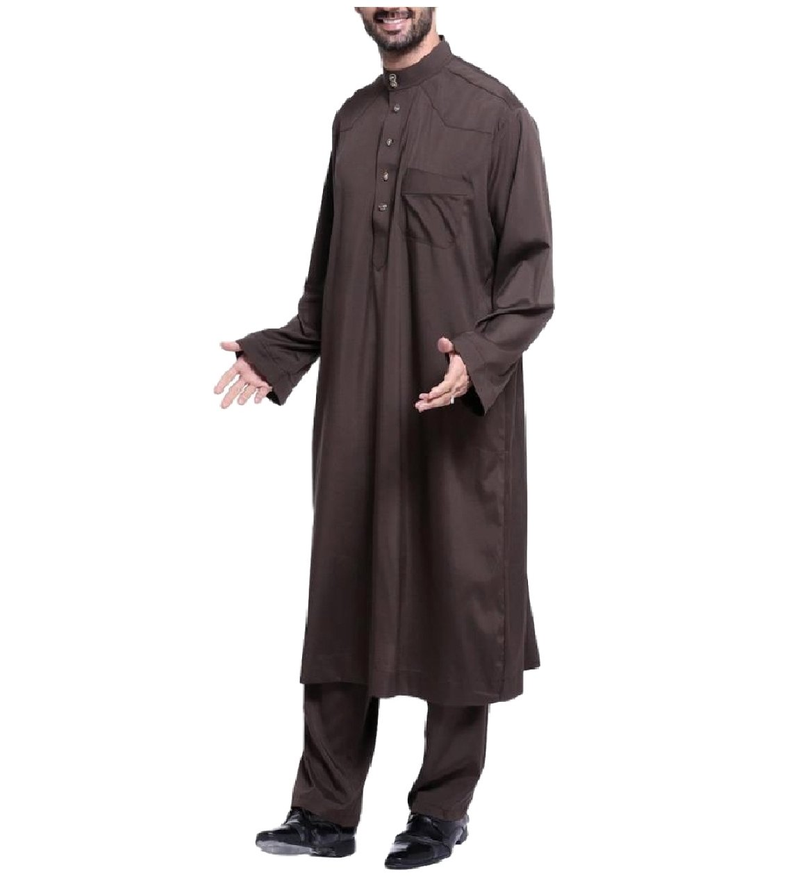 Zimaes Men Saudi Arabia Stand Collar Fine Cotton Muslim Salwar Suit Sets Coffee XL