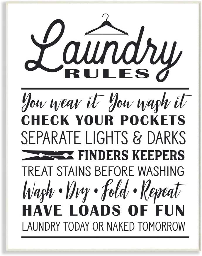 Stupell Industries Laundry Rules with Hanger Typography Wall Plaque Art, Proudly Made in USA